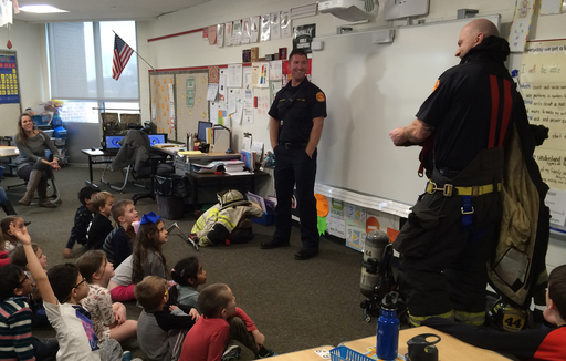 Harmonville firefighters visit first graders at PE