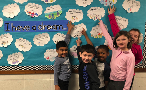PE first graders share their dreams for MLK Day