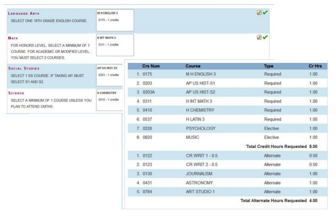 screen shots of a selecting course page and a finished schedule page.