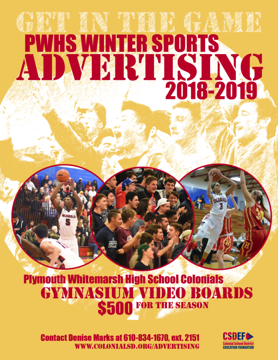 Sports ad with images of basketball players and fans