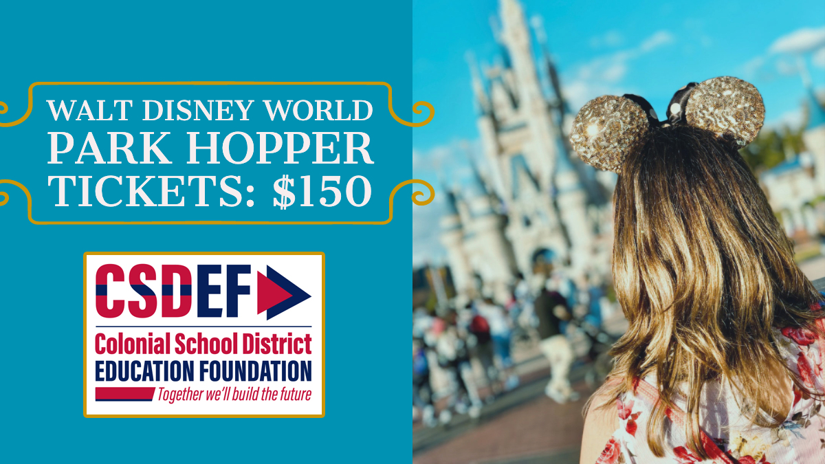 picture of tourist in Disney text says Walt Disney World Park Hopper Tickets $150 with CSDEF logo