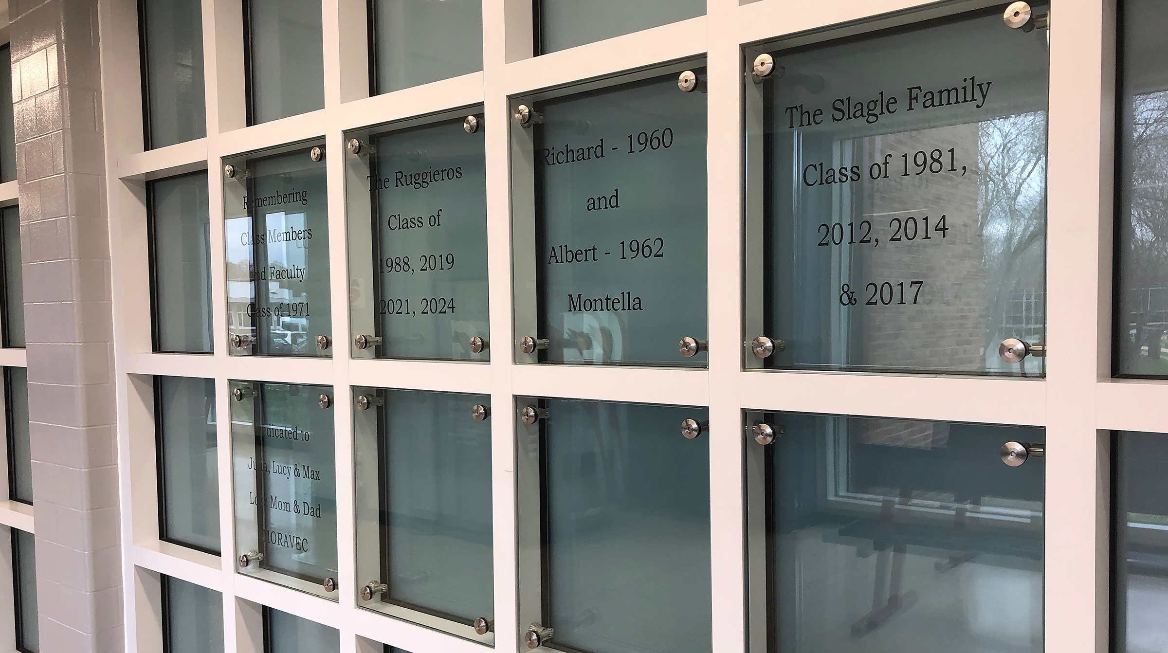 photo of panels in pool lobby