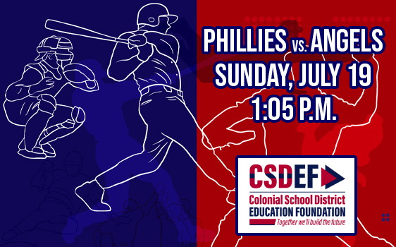 Phillies vs. Angels with line drawings of baseball players, date, time, and CSDEF logo