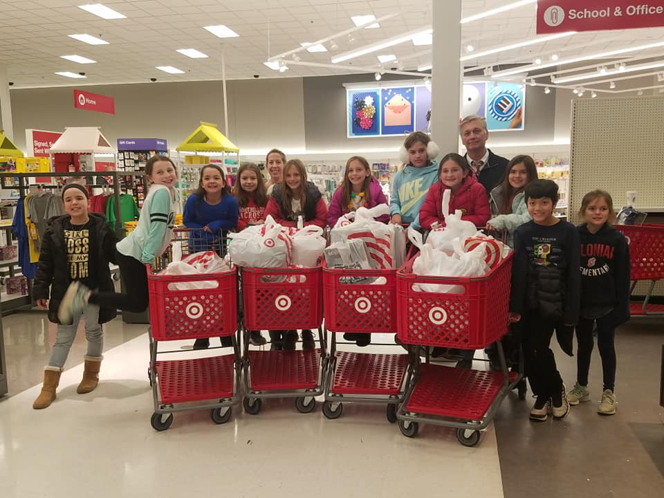 Students with shopping carts in Target