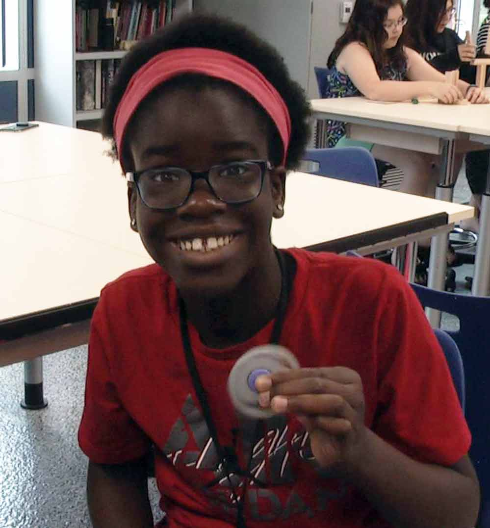 Campers made fidget spinners at the Girls In Technology summer academy.