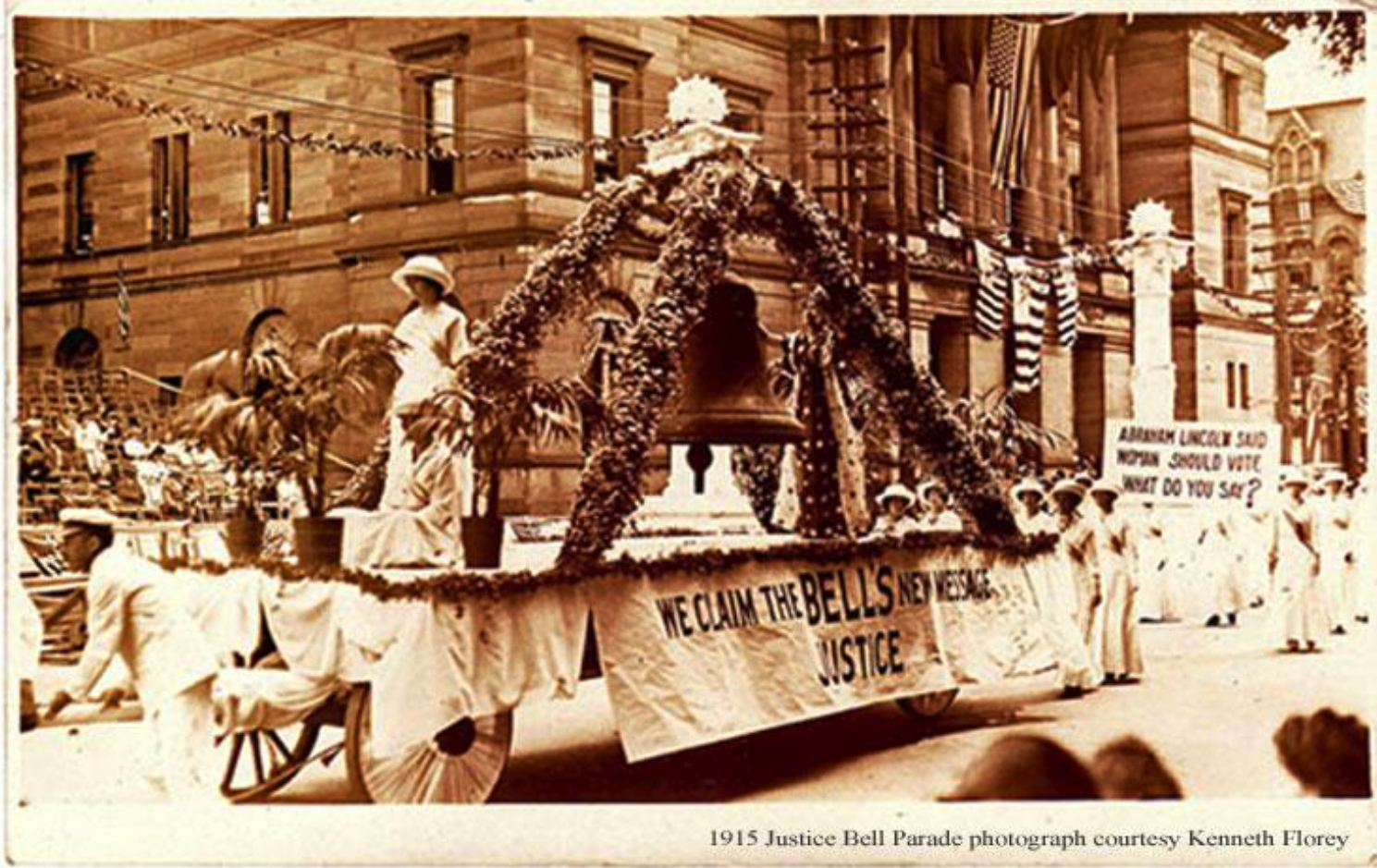 The Justice Bell on float in a 1915 parade