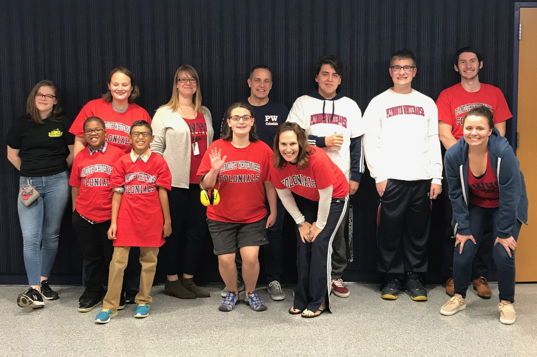 Students and teachers wearing Plymouth Whitemarsh High School shirts