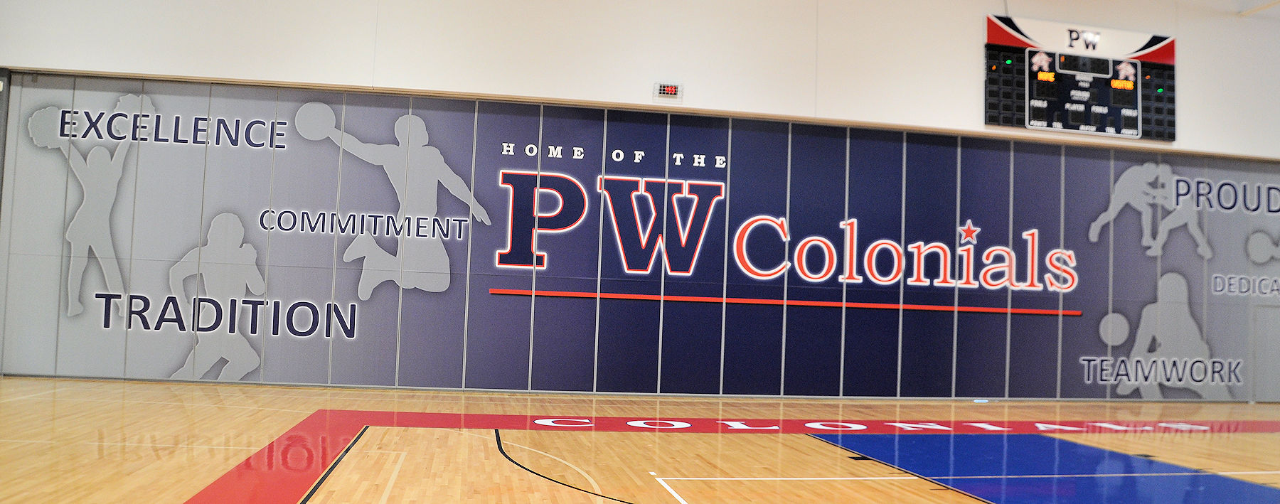 gym wall with logo