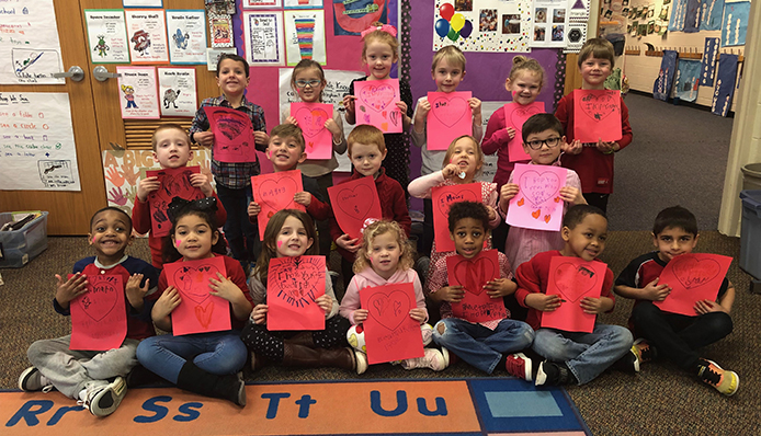 Class holding Valentines