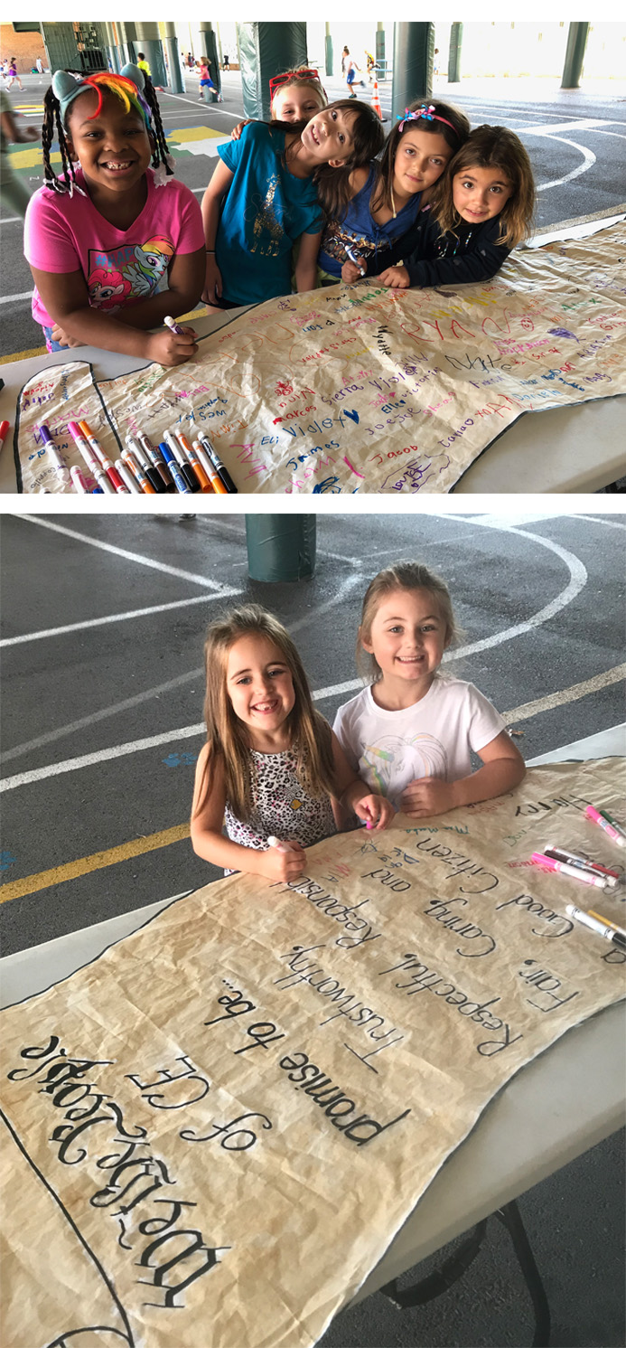 Two pictures of girls signing a large banner laying on a folding table