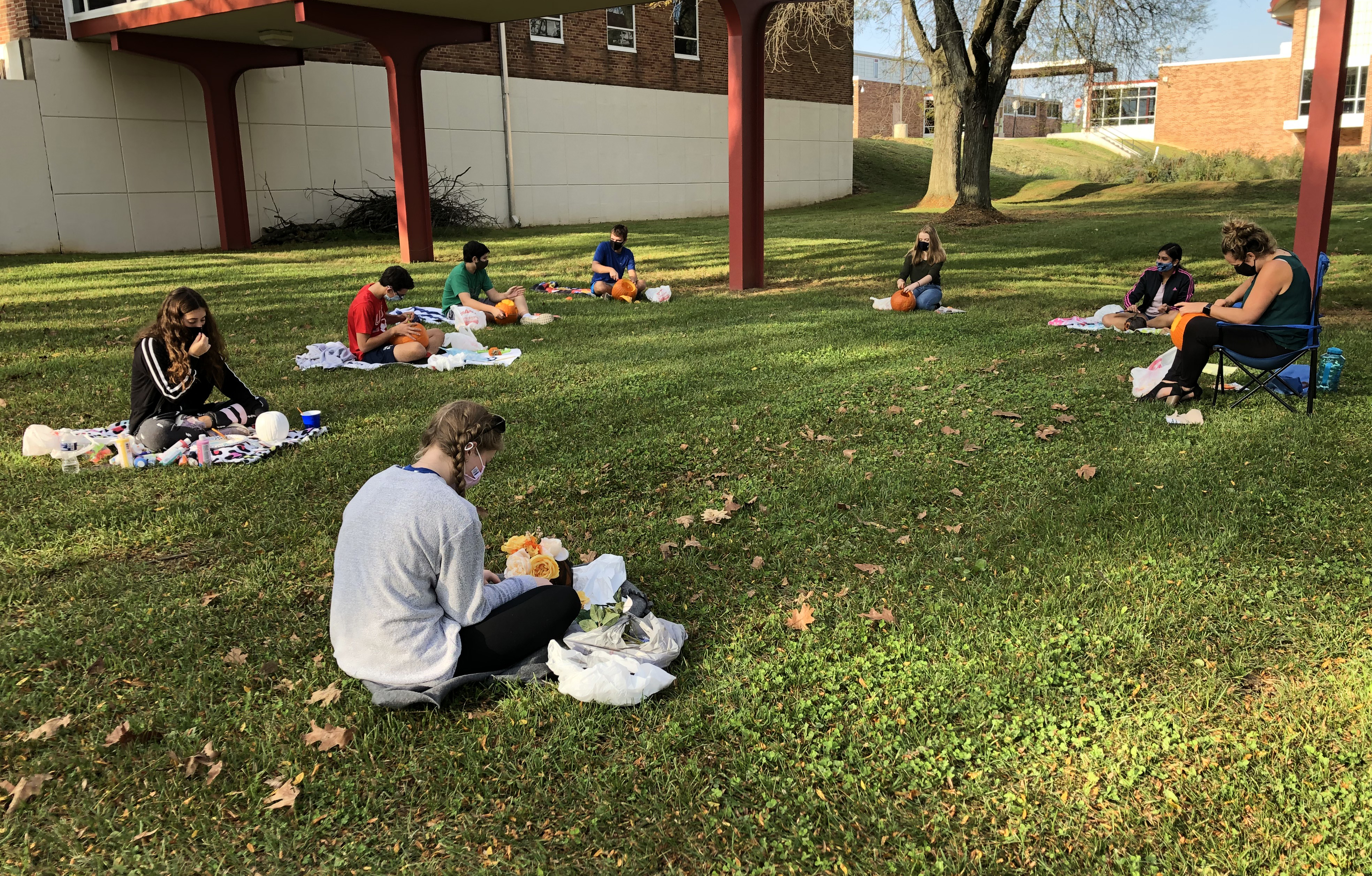 students spread out in the grass working on pumpkins