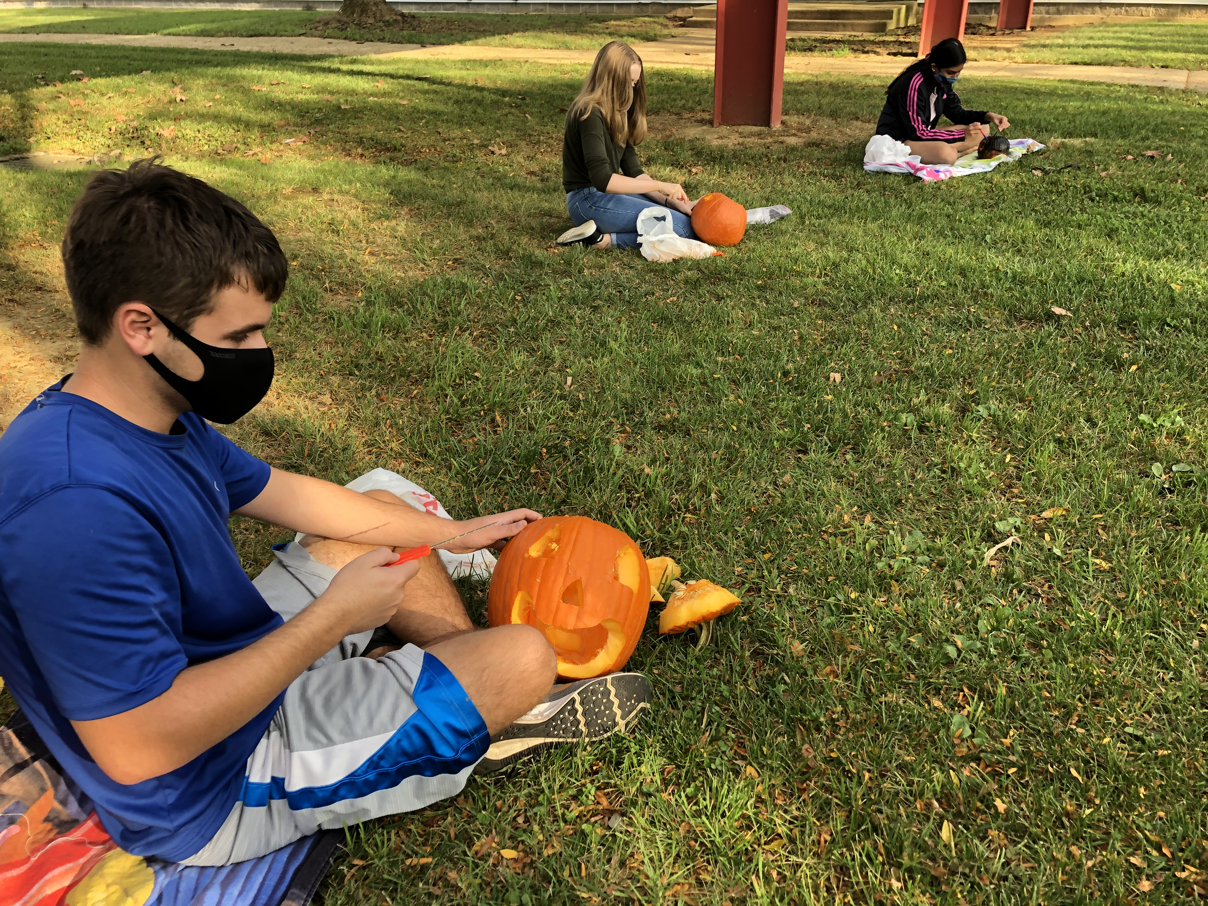 a boy and two girls sitting spaced apart in the grass with pumpkins