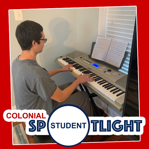 Boy at keyboard text says Colonial Student Spotlight