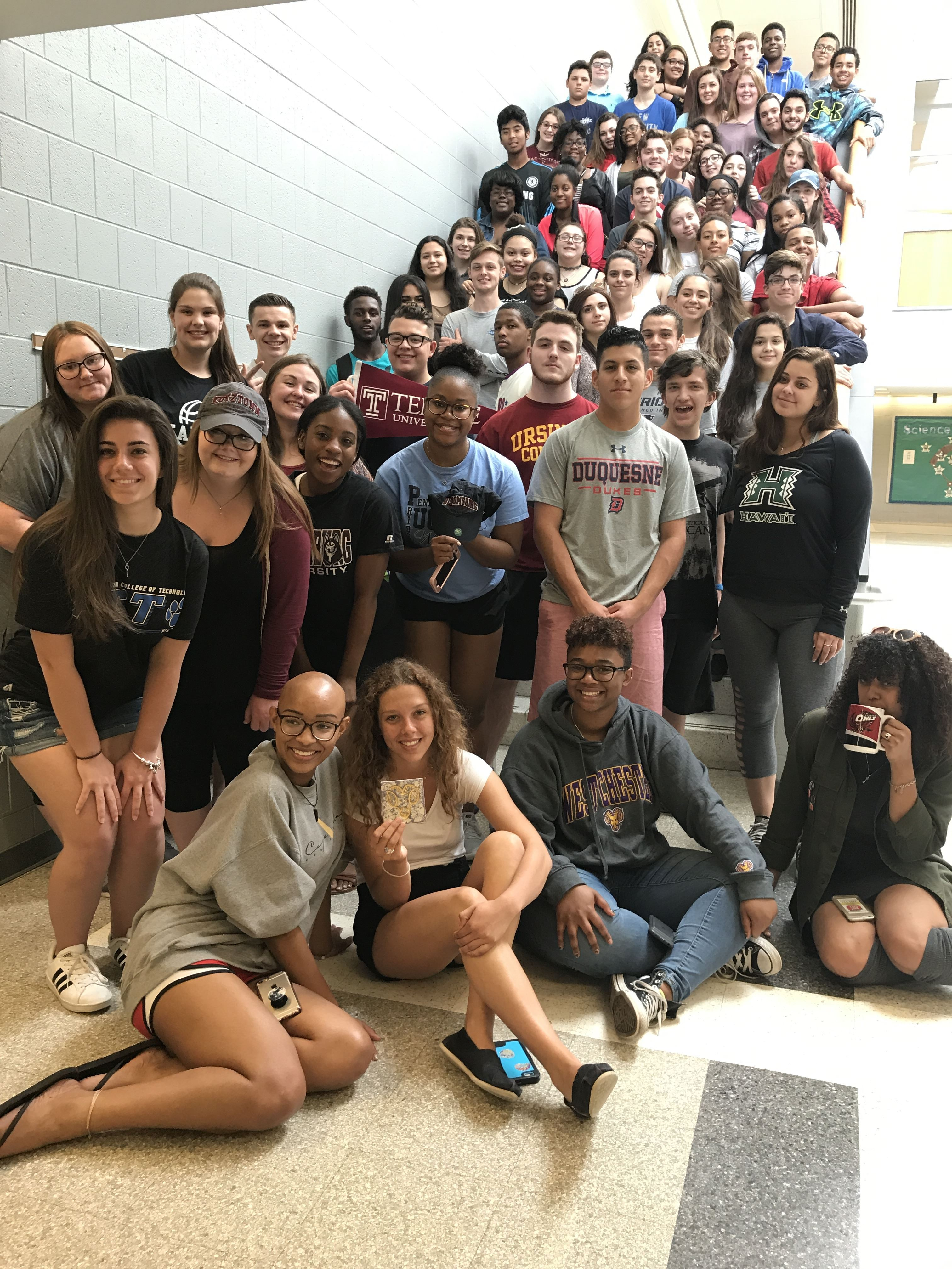 PWHS AVID students posed on the steps in the PWHS science wing