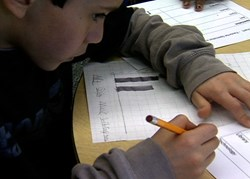 Third grade boy creating a bar graph to demonstrate that students learn how to organize and interpret data.