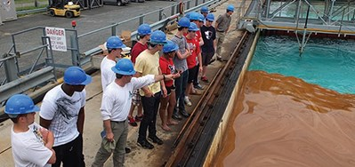 PWHS engineering students visit a company that cleans up oil spills